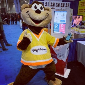 We are helping keep phones charged @torontoskishow because nothing keeps a mascot from taking selfies!