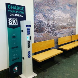 Our newest kiosk @mammothmountain keeping skiers and boarders charged up!