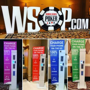 We are excited for the first weekend of the WSOP. Keep your devices charged, rent a charger from one of our kiosks located in every room.  Only $6 ! #wsop #poker