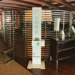 Upgraded kiosk @sheratonsd contact us to place one of our kiosks in your venue and let guests charge on-the-go!
